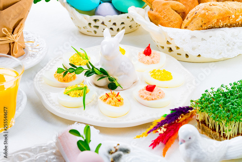 a colorful and festive Easter table decoration - 255544677