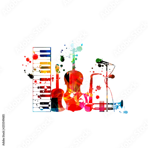 Music background with colorful music instruments isolated vector illustration design. Artistic music festival poster, live concert events, party flyer with piano,guitar, cello, sax, trumpet and mic © abstract