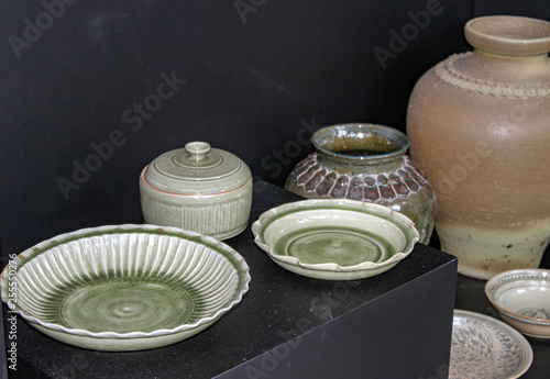 celadon ceramic wares of northern thailand with green color and other pottery jars © Akkharawit