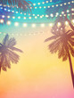 Decorative holiday lights. Background in beach style