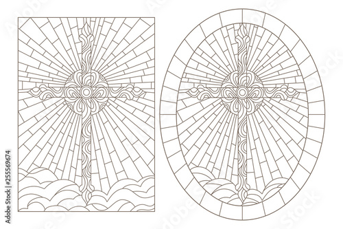 Set contour illustrations of stained glasses with Christian cross, oval and rectangular image