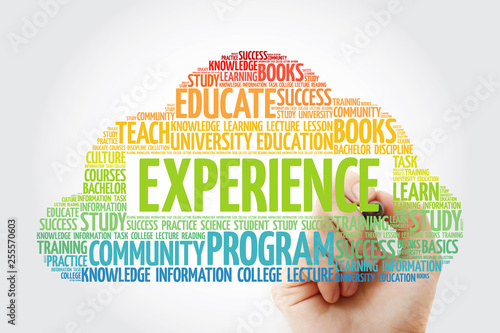 Experience word cloud collage with marker, education concept background