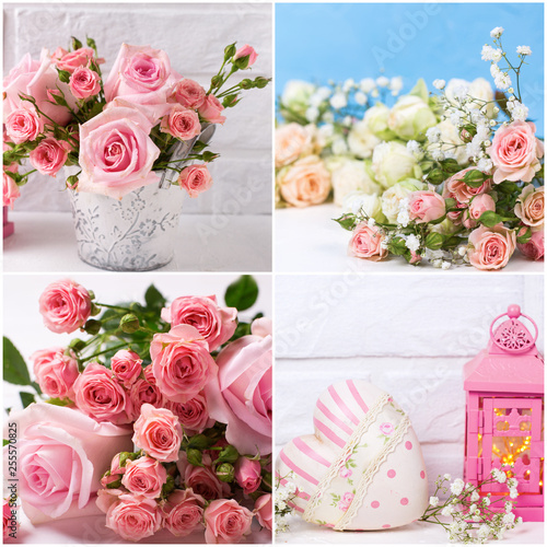 Collage from romantic photos with pink roses flowers on textured background.