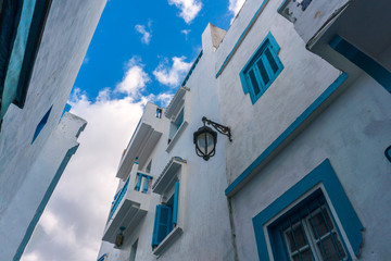 Blue and white Street of Asilah in Morocco