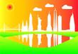 new york city skyline colors - 255577650