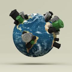 Planète Terre 3D avec poubelles posées sur les continents