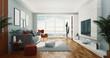 Living room, 3d rendering