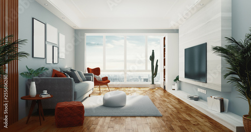 Living room, 3d rendering