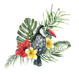 Watercolor tropical flowers bouquet and toucan. Hand painted bird, hibiscus and plumeria isolated on white background. Nature botanical illustration for design, print. Realistic delicate plant. - 255631260