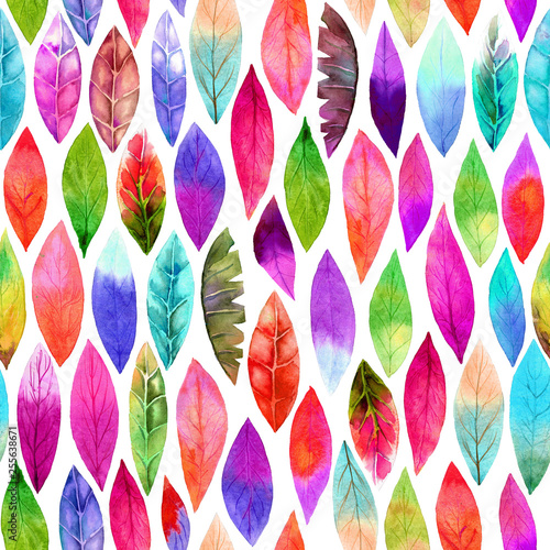 Colorful different leaf seamless pattern. Abstract colors, joyful. © MNaniti