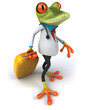 green doctor frog with luggage