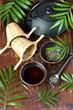 Tea ceremony, green tea, tea pot and tea cups