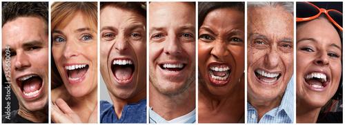 Happy people faces © Kurhan