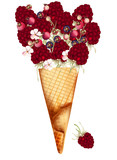 Fashion illustration, print for T-shirt with ice cream with red berries of raspberry
