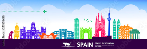 Spain travel destination vector illustration. - 255656430