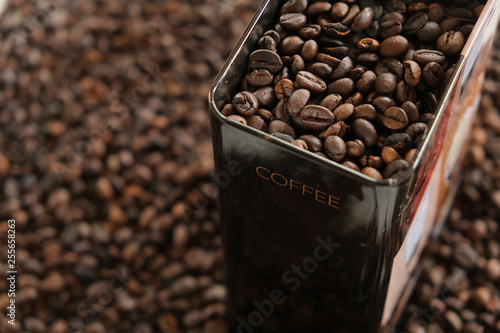 Coffee box fully filled with coffee beans. © forma82