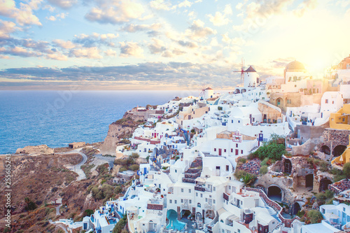 Leinwanddruck Bild Santorini greece view. Amazing landscape with white houses. Island lovers