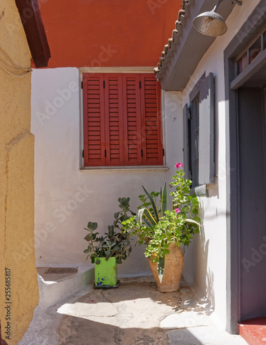 scenic alley in Athens Greece, Anafiotika neighborhood just under acropolis