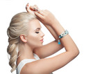 Beautiful woman isolated on white background. Pretty girl with blonde hair, makeup and bracelet