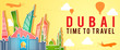 yellow banner of Dubai famous landmark silhouette colorful style,plane and balloon fly around with cloud - 255690260