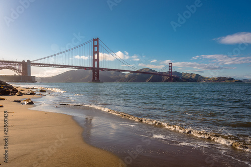 obraz lub plakat golden gate panorama, view of the golden gate from the bay, san francisco united states