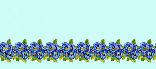 Strip of blue pansies and green leaves. © sriba3