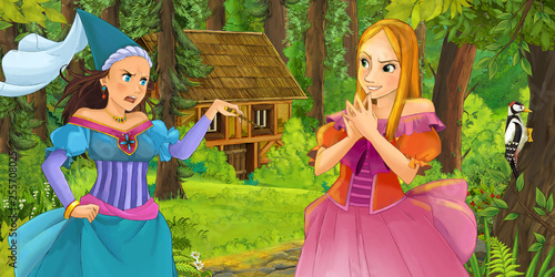 Leinwanddruck Bild cartoon scene with happy young girl in the forest encountering sorceress hidden wooden house - illustration for children