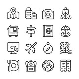 Travel line icons set. Modern graphic design concepts, simple outline elements collection. Vector line icons