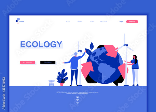 Modern flat web page design template concept of Ecology Earth decorated people character for website and mobile website development. Flat landing page template. Vector illustration. - 255716082