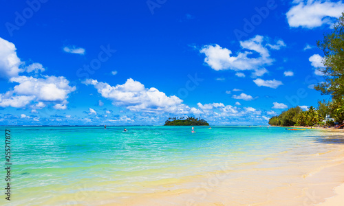 fototapeta na ścianę View of the sandy beach, Cook Islands, South Pacific. Copy space for text.