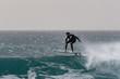 surfer against a deep blue wave