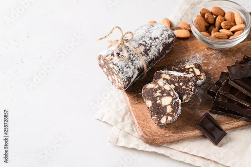 Traditional chocolate sausage salami with cocoa and chocolate