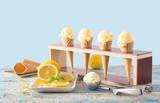 ice cream with lemon in cones