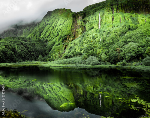 Flores, the Azores: Sunset lights up the wall of waterfalls at Poco da Ribeira do Ferreiro, Flores island, Portugal.  - 255750284