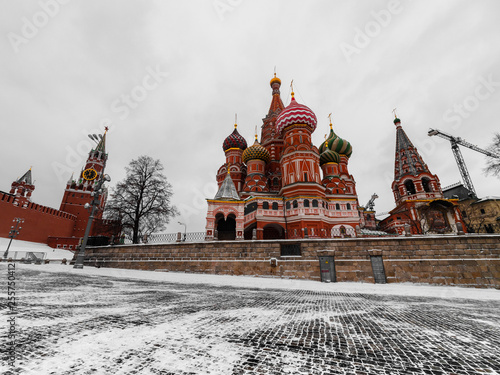 MOSCOW, RUSSIA –  MARTH 2019: St. Basil's Cathedral on Red Square in Moscow. Exterior of St. Basil's Cathedral