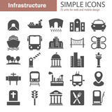 City infrastructure simple icons set for web and mobile design