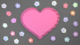 cute rose heart surrounded by small flowers in pastel rainbow colours, paper cut, on grey background, 3d illustration