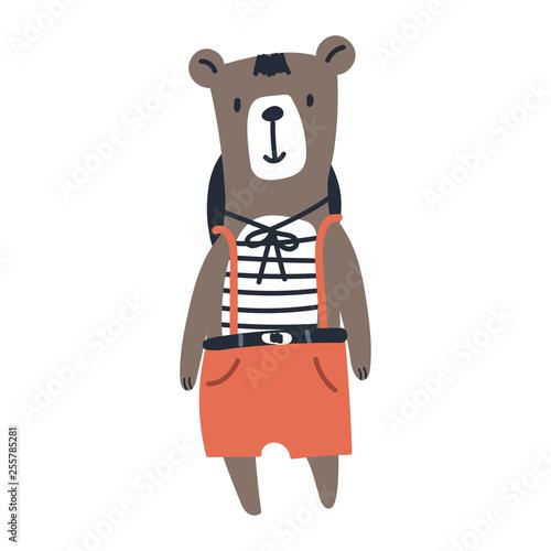 fototapeta na ścianę Cute kids hand drawn nursery poster with bear animal. Color vector illustration.