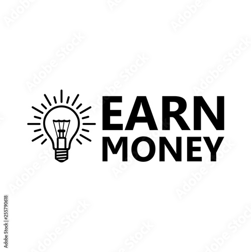 Earn Money icon, Lightbulb icon