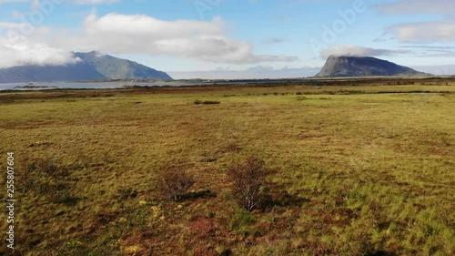Gimsoya island landscape in Vagan municipality Nordland county, Lofoten archipelago Norway. Tourist attraction