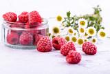 Raspberries with flowers