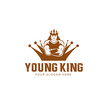 Young King mascot logo badge premium