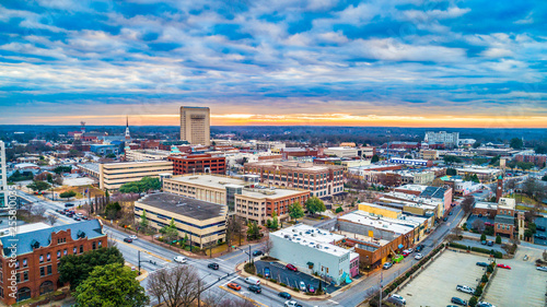 Main Street Drone Panorama of Spartanburg, South Carolina, USA.