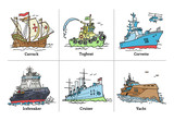 Illustration of color drawing sketch ships with yacht, icebreaker, corvette, tugboat, carrack and cruiser Aurora.