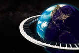Global music concept. Earth Globe with piano keyboard around, 3D rendering
