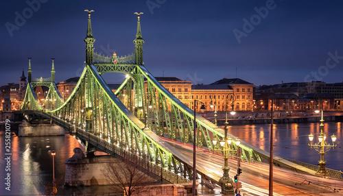 Famous Liberty bridge in Budapest, Hungary