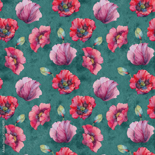Poppies Seamless Pattern. Watercolor wild red poppies. Surface design for interior decoration, printed issues, invitation cards. Flowers seamless pattern. - 255824091