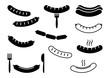 Set of grilled sausage, barbecue, black flat and outline design. Vector illustration