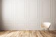 Leinwanddruck Bild - Empty classic interior with chair