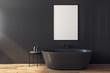 Leinwanddruck Bild - Modern black bathroom with poster